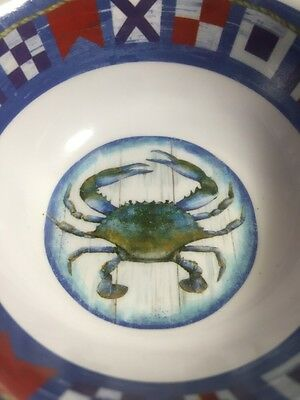 Blue Claw Crab Melamine Bowl Set Of 4 Maryland Butter Sauce NEW