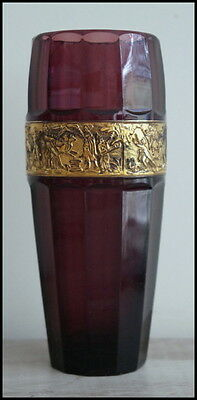 Antique Walther Amethyst Crystal Glass Vase  Gilded Cameo Frieze Signed 1930s