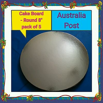 "Cake Board 8"" round - Silver standard - pack of 5"