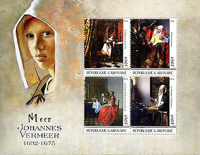 Gabon 2016 MNH Johannes Vermeer 4v M/S Art Paintings Stamps