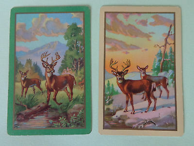Pair Of   Vintage Deer  , Swap Playing Cards ..