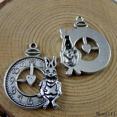 **Vintage Silver Alloy Rabbit With Alarm Clock Charms Pendants Findings 50917 5x