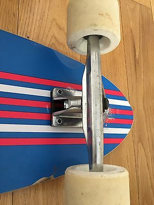 Used Two Bare Feet LONGBOARD Blue, Red, White Pintail Point Kick Retro Cruiser