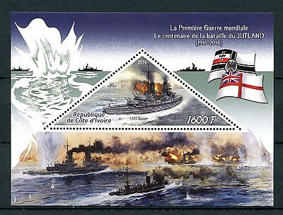 Ivory Coast 2016 MNH WWI WW1 Battle of Jutland 1v S/S SMS Kaiser Ships Stamps