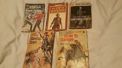 5 old books antique corgi western cougar western JT Edson, Max Brand