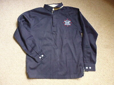 Mark Todd Long Sleeve Mens Polo Style Rugby Top Shirt navy blue size S