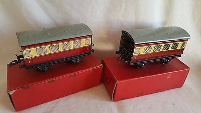 2 Hornby 0 Gauge 42122 No51 Br Crimson And Cream Coaches Good Boxed