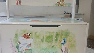 Beatrix potter hand painted Childrens toy box Large Book Clothes Storage Chest