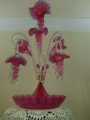 Antique victorian style glass epergne  cranberry rose pink glass with baskets