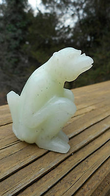 Carved Monkey Appears To Be Light Green Jade