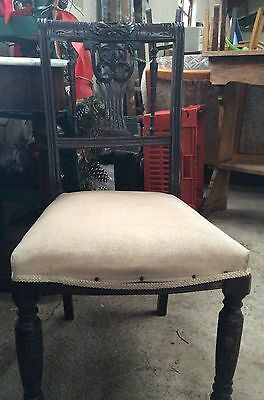 ANTIQUE VICTORIAN CARVED WOOD BACK CHAIR. Bedroom Chair. Dining Chair. Dressing