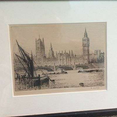 Signed Print of Westminster Bridge and Houses of Pariament - E or C Martyn