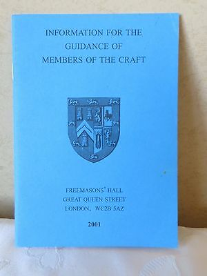 Masonic Information For Guidance Of Members Craft 2001 Book Collectors
