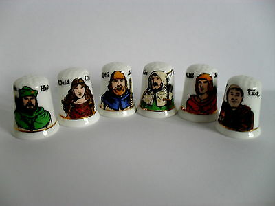 Six Fenton China Thimbles - Robin Hood And His Merry Men