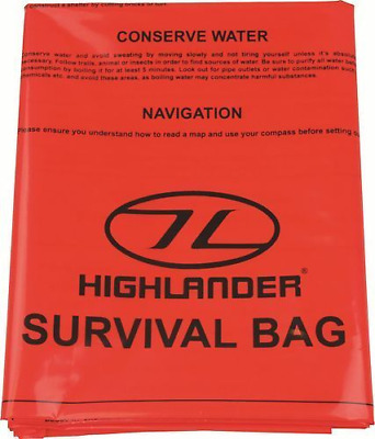 Highlander Emergency Orange Survival Bag Bivy Size 90cm x 180cm Camping Hiking