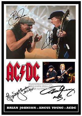 274.ac/dc Brian Johnson & Angus Young Signed  A4 Photograph Great Gift