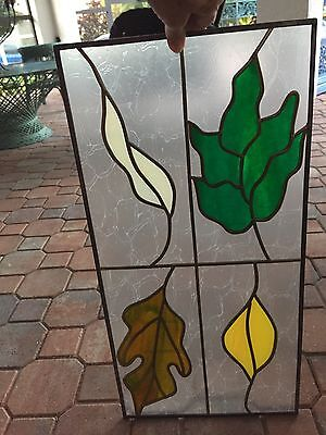 """Hand Crafted ~ STAINED GLASS 4 Botanical Leaves  WINDOW ~ 24"""" x 12"""""""