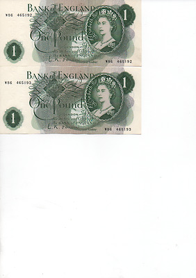 2 Consecutively Numbered Bank of England One Pound Notes O'Brien