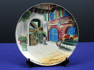 Vntg. Hand Painted By Hitomis Porcelain Plate, Brulatour Courtyard, New Orleans