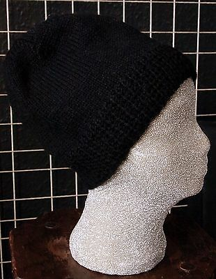 100% Pure Wool Black Hand Knitted Beanie Hat One Size