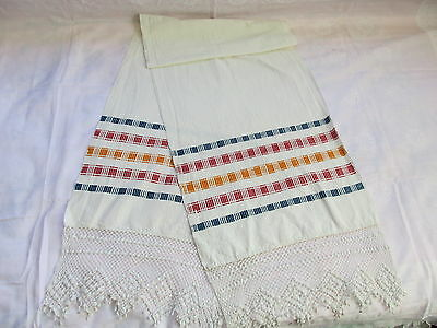 Old Primitive Antiques Hand Wooven Homespun Big Towel With Lace