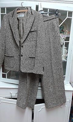 Thick quality 100% lana wool ladies wide leg trouser suit - Size 10 label
