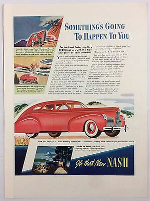 1938 AD- LIFE MAGAZINE NASH MOTORS Automobile 1939 LICENSE PLATES Johnny Walker