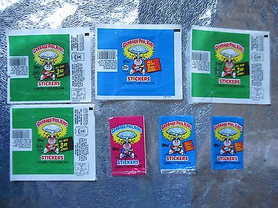 1985 1986 GARBAGE PAIL KIDS 7 ORIGINAL WRAPPERS 1ST 2ND 3RD SERIES Mini GPK Wax