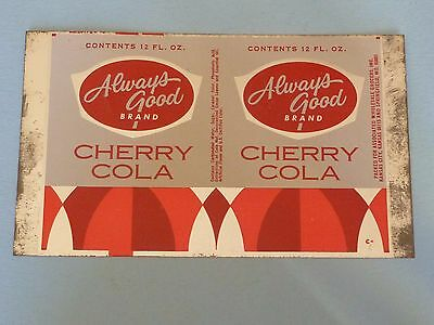 Vintage 12oz Always Good Cherry Cola Unrolled Can