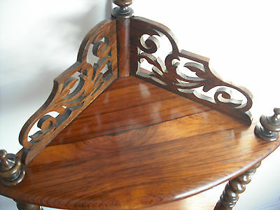 C19th Victorian Rosewod 4 Tier Corner Whatnot [not/mahogany/shelves/cupboard]