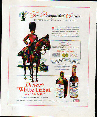 1943 DEWAR'S WHITE LABEL & NORFOLK & WESTERN RR AD- OHIO- SCOT's GUARD