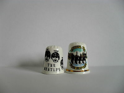 Two Bone China Thimbles - The Beatles