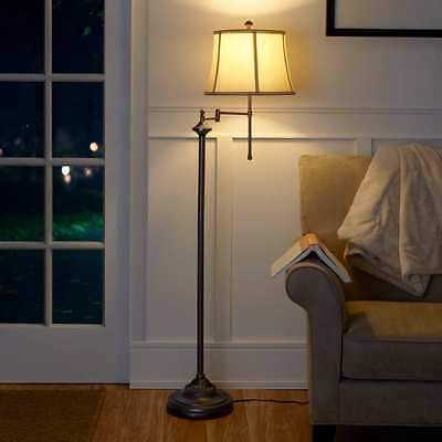 Vintage Floor Lamp 59 Inches Swing Arm Bronze Stand Reading Shade, CFL Bulb