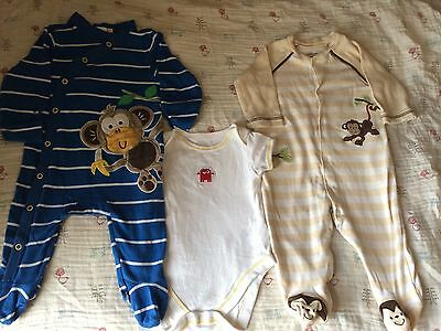 2 Baby Grows / Sleep Suits & 1 Vest / Body Suit Age 3-6 Months