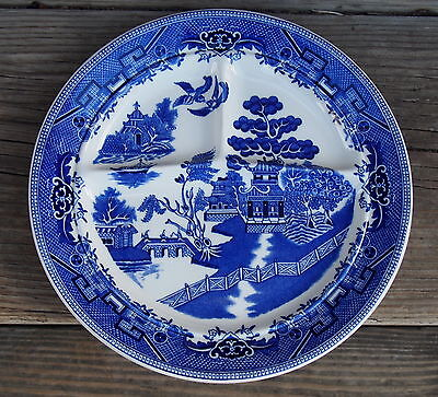 Shenango Oriental Blue Willow Divided Grill Sectioned Dinner plate 10 1/2 USA