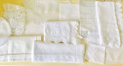 Vintage Lot Of Linen Items With Lace & Embroidery