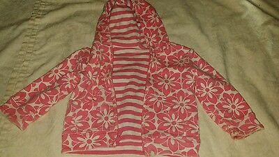 Baby Gap Reversible Hoodie Floral Striped Pink White Size 6-12 Months Infants