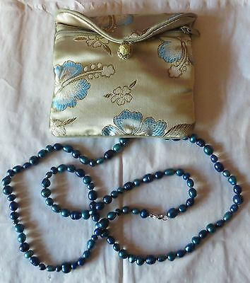 "Honora Cultured Blue Pearl Necklace, 17""/43cm drop, with satin bag"