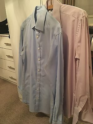 """Two Charles Tyrwhitt Extra Slim Fit Shirts Size 15.5"""" Collar / 35"""" Sleeve"""