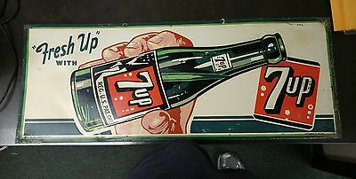 Vintage 7Up Embossed Metal Sign Rare 1951 (No Relisting On This Sign)