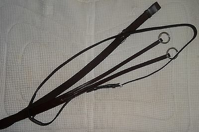 JEREMY & LORD Running Martingale - Quality Brown Leather - Full/Horse Size - NEW