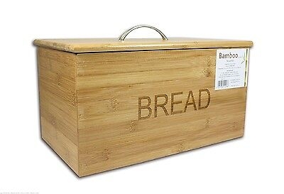 Original Bamboo Wood Wooden Bread Bin Storage Box With Lid Plastic Silicon Seal