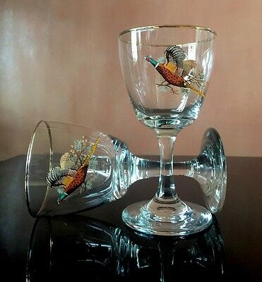 Mad Men Tall Aperitif Cordial Glasses With Gold Rim And Flying Pheasant.