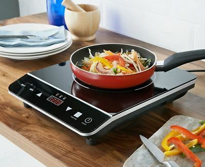 Black Digital Induction Hob Electric 2000W Hot Hob Plate Table Cooker Kitchen