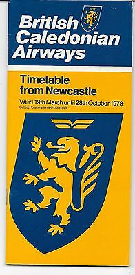 Airline timetable- BCAL Newcastle services  Summer 1978