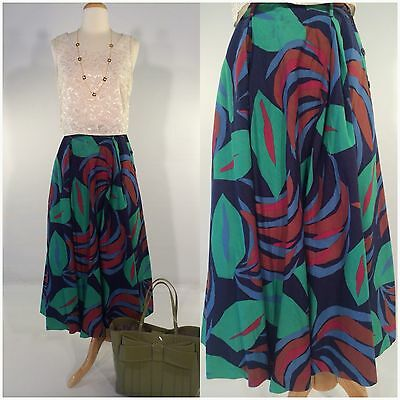 Vintage 80s Guy Laroche Boutique Skirt Blue Green Midi Abstract Full Cotton