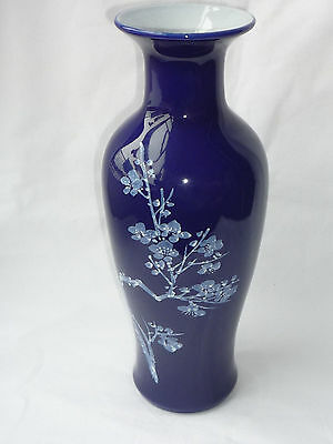 Chinese Porcelain Hand Painted Flower Blue Vase with Marks