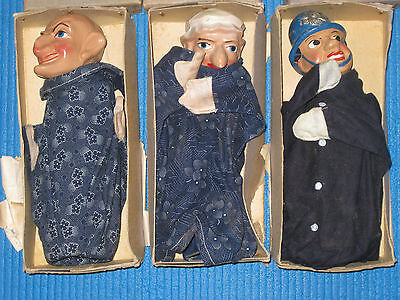 Rare Early Punch & Judy Hand Puppets - Boxed