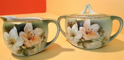 Vintage R.S. Germany Hand Painted Creamer and Sugar Bowl with Lid EXCELLENT MINT