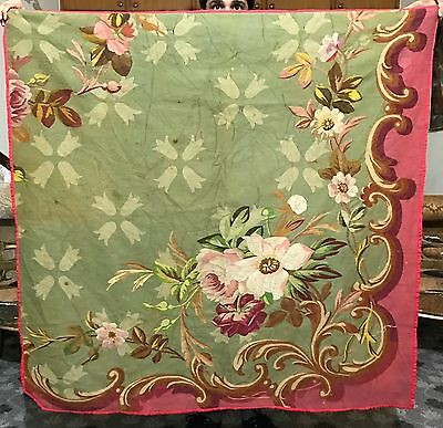 Antique 19C  Aubusson French Hand Woven Tapestry Wall Hanging Panel